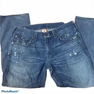 True Religion Distressed Ricky Straight Jeans